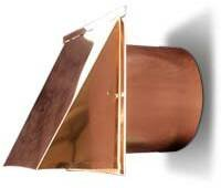 4 Inch Copper Exterior Side Wall Cap with Damper Only