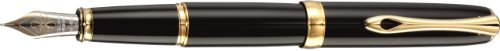 Diplomat Excellence A plus, black lacquer gold, fountain pen, 14ct gold nib F fine by Diplomat