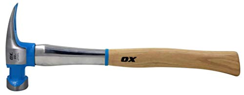 OX Tools Pro Hickory Hammer, Steel Reinforced, Claw, Framing, 22 Oz, Hickory Handle