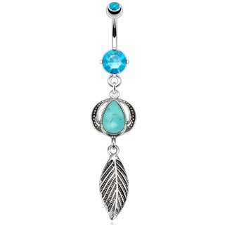 Steel 14 Gauge 3/8' Curved - 316L Steel Belly Ring w/Blue Stone Headress with Leaf Dangle Belly Ring - 14G (1.6mm), 3/8'' Bar Length