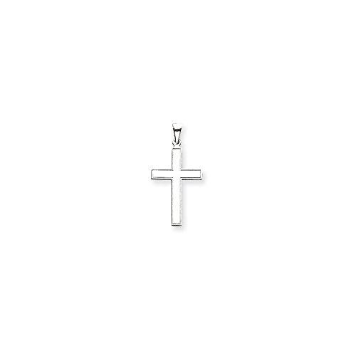 14k Engraveable Cross Pendant (Roy Rose Jewelry 14K White Gold Cross Pendant 36mm length)