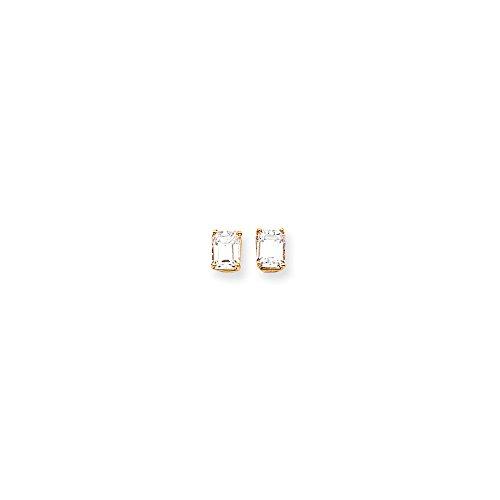 14kt Yellow Gold 8x6 Emerald Earring Mountings ()
