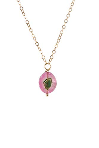Watermelon Tourmaline Slice Pendant Necklace- Tourmaline Gemstone- 17