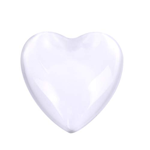 (Heart Transparent Glass Cabochons, Heart Shape Clear Glass Cabochon for Photo Pendant Craft Jewelry Making 10pcs/Box 30mm)
