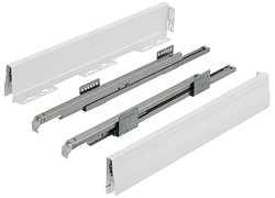 (Moovit Drawer Profile and Slide, steel, zinc plated, metallic white, frame height=92mm, length=500mm)