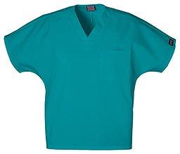 Cherokee Workwear Scrubs Unisex V-neck Tunic Top, Teal Blue, (Teal V-neck Scrub)