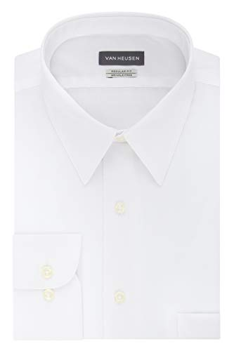 Van Heusen Men's Poplin Regular Fit Solid Point Collar Dress Shirt, White, 17.5
