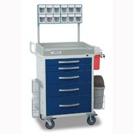 Detecto - RC33669BLU-L - oaded Rescue Anesthesiology Cart-5 Blue Drawers