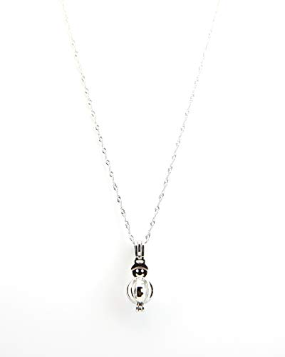 Christmas Necklace with Love Pearl Snowman Pendant Christmas Gifts for Women Pack of One]()