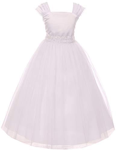 - BNY Corner Big Girl Cap Sleeve Satin Tulle Holy First Communion Wedding Flower Girl Dress White 20.5 KD.222