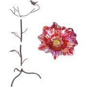 BHG Red Flower Pattern Birdbath, Handpainted and Shining finish, Durable Metal Stand, Decorative, Outdoor, BH17-093-699-13