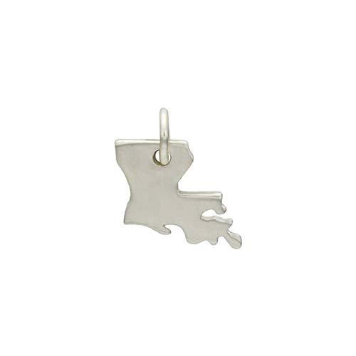 (Sterling Silver 12x10mm Louisiana State Charm with Soldered Jump Ring - 1pc (5561)/1)