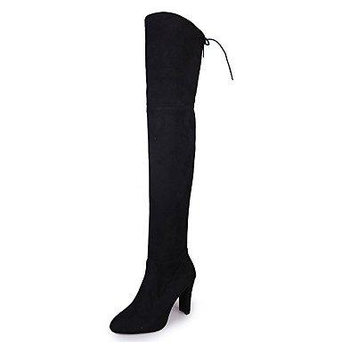 botas Otoño Casual cordones tacón bajo mujer rojo para negro Tejido THIGH comodidad Desy HIGH Invierno botas de zapatos negro gris de qXA1wg1Of