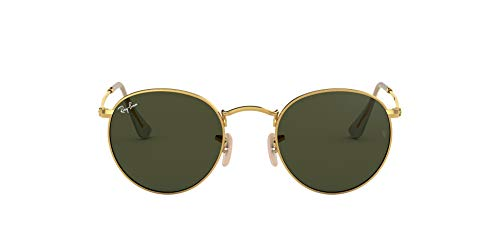 Ray-Ban RB3447 Round Metal Sunglasses, Gold/Green, 53 ()
