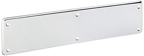 Chrome Corner Plate - Baldwin 2110 3-1/2 Inch x 15 Inch Solid Brass Round Corner Push Plate, Polished Chrome