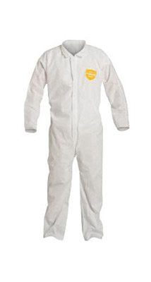 DuPont PB120SWHLG0025 Large White SafeSPEC 2.0 12 mil ProShield Basic Chemical Protection Coveralls With Laydown Collar, Elastic Waist, Open Wrists And Ankles (1/EA)