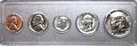 1965 – CHOICE UNCIRCULATED – CENT, NICKEL, DIME, QUARTER & HALF DOLLAR – CASED SET