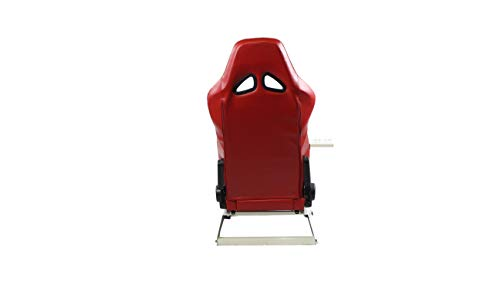 GTR Simulator GTA-WHT-S105LRDWHT GTA Model Racing Simulator White Frame with Red White Real Racing Seat, Driving Simulator Cockpit Gaming Chair with Gear Shifter Mount