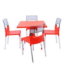 Dzyn Furnitures Outdoor Set (4 Diva Chair + 1 Olive Table) Red