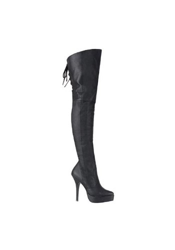 Devious Women's 5 1/4 Inch Platform Thigh Boot (Black Leather;10) -