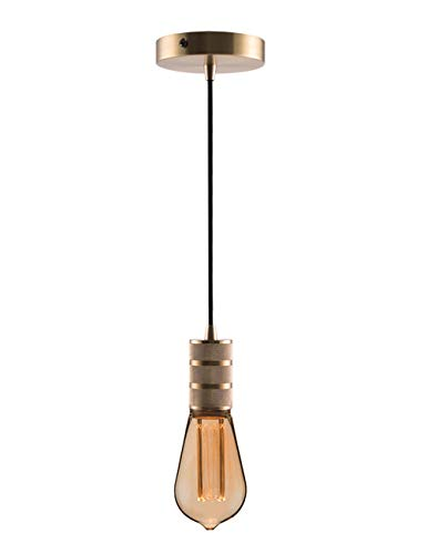 - Gold Mini Pendant Light Fitting Modern Style, Single Light Socket, 4.75'' Canopy, 10ft Black Fabric Cord, Ceiling Lighting Fixture, E26 Lampholder, Harwez LP-067-2, Include 1 Decorative Bulb