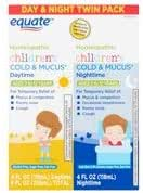 Equate Children's Homeopathic Daytime & Nighttime Cold & Mucus Liquid Twin Pack, 4 fl oz, 2 Pack (Pack of 1)