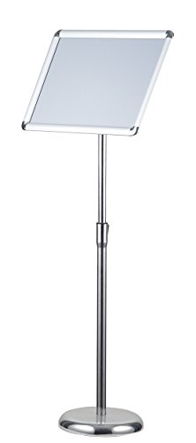 Pedestal Sign Holder Floor Stand w/Telescoping Post & Easy Open Poster Frame for 8.5x11 inches Paper Size, Both Vertical and Horizontal View (Round Corner 8.5x11 inch)