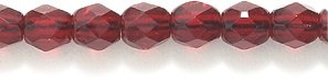 Preciosa Czech 4-mm Fire-Polished Glass Bead, Faceted Round, Transparent Garnet, 200/pack