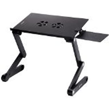 Pwr+ Portable Laptop-Table-Stand with Mouse Pad Fully Adjustable-Ergonomic Mount-Ultrabook-Macbook Light Weight Aluminum-Black Bed Tray Desk Book Fans Up to 17