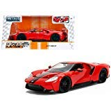 2017 Ford GT Red with Black Stripes 1/24 Diecast Model Car by Jada 99391 24 Red Die Cast Car