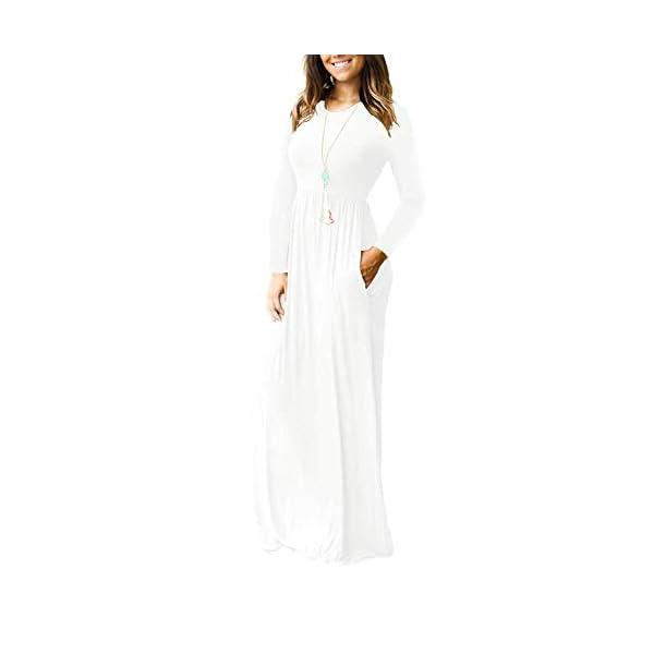 Women's Long Sleeve Loose Plain Empire Waist Maxi Dresses Casual Long Dresses with Pockets