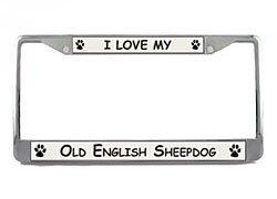 Sheepdog License Plate Frame - Old English Sheepdog License Plate Frame (Chrome) 5 Year Warranty