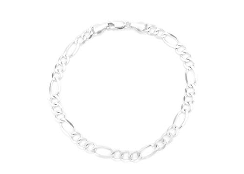 - 10K Gold 5.5mm Figaro 3+1 Link Chain Bracelet/Or Necklace - Made in Italy- (White, 8)