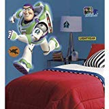 (ON 12 Piece Kids Green White Purple Buzz Lightyear Wall Decals Set, Disney Themed Wall Stickers Peel Stick, Fun Toy Story Movie Animated Space Pixar Ranger Flying Decorative Graphic Mural)
