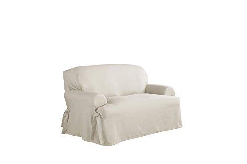 Serta 863076 Relaxed Fit Duck Slipcover T Loveseat, White Cotton Duck Loveseat Slipcover