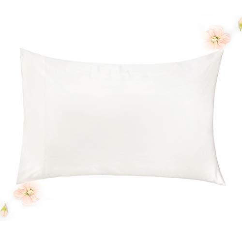 Silky Sleep Satin Pillowcase - WonderHome Cooling Pillowcase for Hair Skin Deeper Sleep, Luxury Tencel + Bamboo Rayon, Silky-Soft Satin Pillow Case, Anti-Bacteria, Hypoallergenic, Natural Ivory, 20