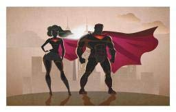 Ambesonne Superhero Doormat, Super Woman and Man Heroes in City Solving Crime Hot Couple in Costume, Decorative Polyester Floor Mat with Non-Skid Backing, 30 W X 18 L Inches, Beige Brown Magenta -