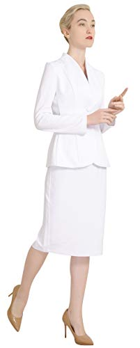 6079596f1 Marycrafts Women's Formal Office Business Work Jacket Skirt Suit Set 20 Off  White