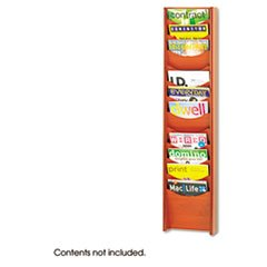 ** Solid Wood Wall-Mount Literature Display Rack, 11-1/4w x 3-3/4d x 48h, Cherry **