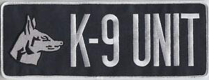 K-9 Unit White ON Midnight Back Panel Patch 10 7/8