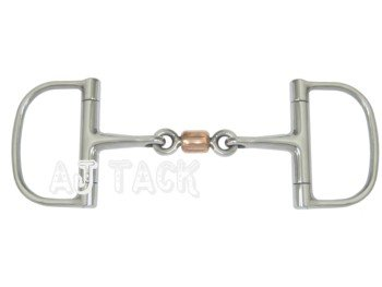 AJ Tack Wholesale Racing Dee Horse Bit Three Piece Snaffle with Copper Roller Stainless Steel D