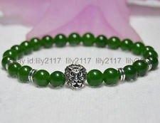 """n jade Men's bracelet plus Tibetan silver lion head 8"""" Y01 (New Jade Bead Bracelet)"""