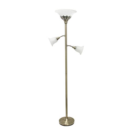Elegant Designs LF2002-ABS 3 Light Scalloped Glass Shades Floor Lamp, Antique Brass