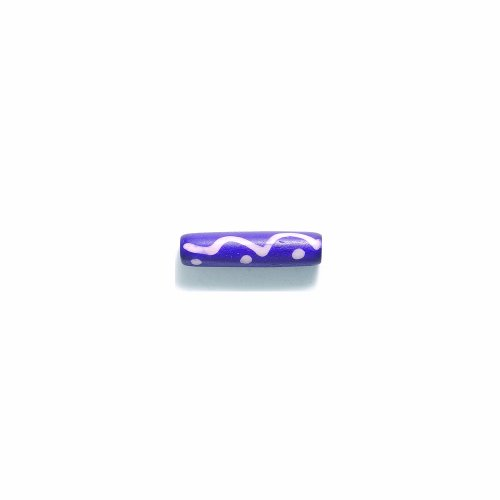 Shipwreck Beads India Bone Smooth Tube Hair Pipe Beads, 1-Inch, Purple with White, 45-Pack