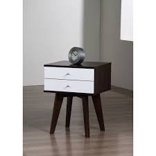 Jones Mid-century and Modern Style Two-tone/black and White Nightstand Finished with Wenged Frame and White Drawer Faces Made of Rubberwood. by I Love Living