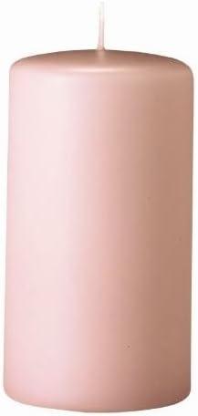 Lot de 12 Bougies Pilier Taupe Rose 13 x 7 cm