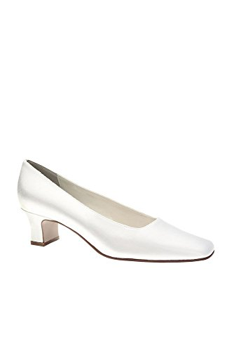 Dyeable Simple Satin Low-Heel Pumps Style BETTY, White, 9 N (Heel Dyeable Satin Bridal Shoe)