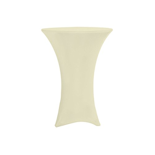 Your Chair Covers Highboy Cocktail Round Fitted Stretch Spandex Table Cover, 36''L, Ivory by Your Chair Covers