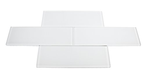 Super White Glossy 3x9 Bright White Subway Glass Tile
