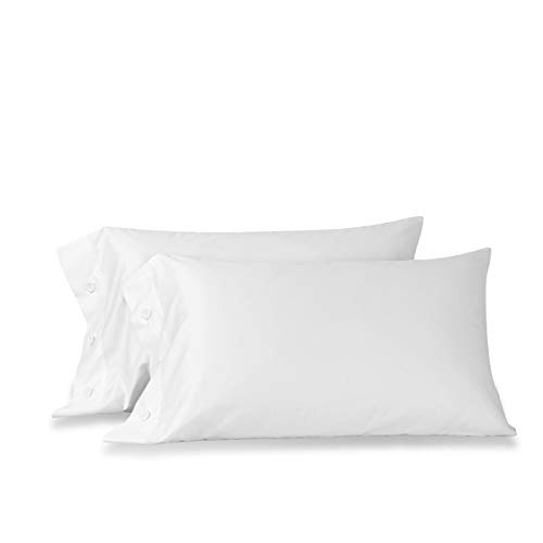 Orose 600 Thread Count Cotton Pillowcase-100% Long Staple Cotton Standard Pillowcase Set of 2,Soft and Silky Bed Pillow Cover French Design Cotton Pillows for Sleeping (White, Standard) ()